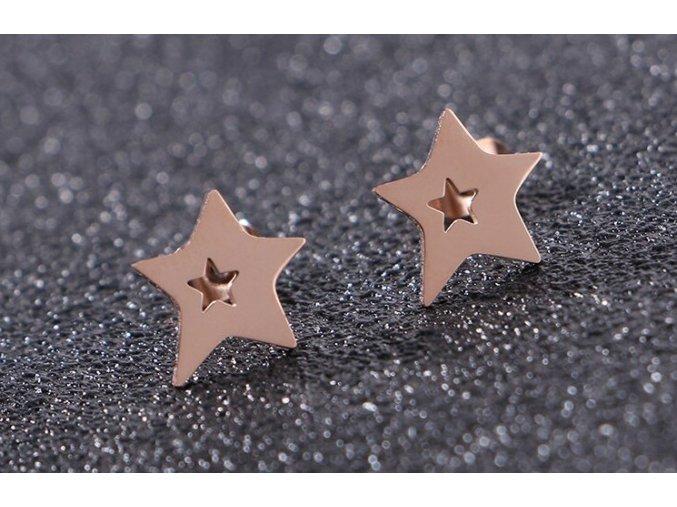 Nausnice hvezdaahvezdicka ruzovezlata4