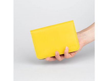 Dámská kožená peněženka MINI - žluto tmavě modrá