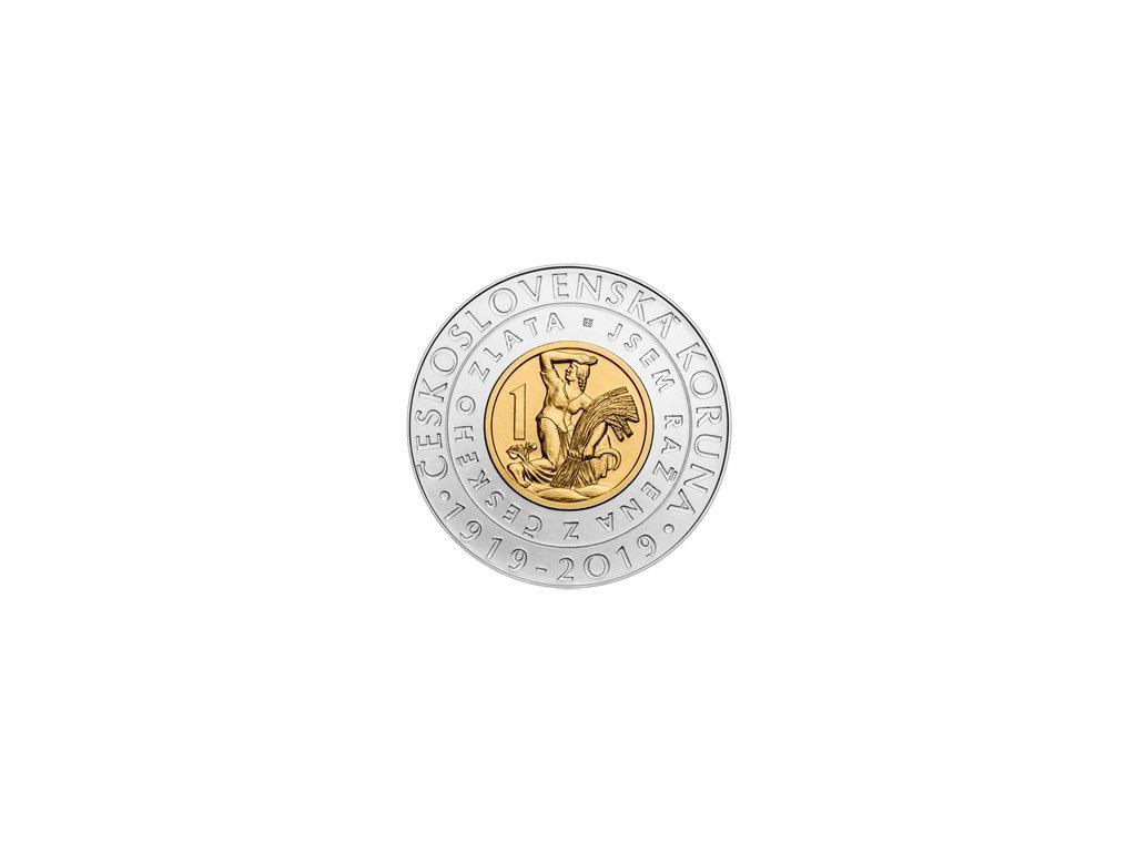 Bimetalová mince 2000 Kč 100. výročí zavedení československé koruny 2019 Standard