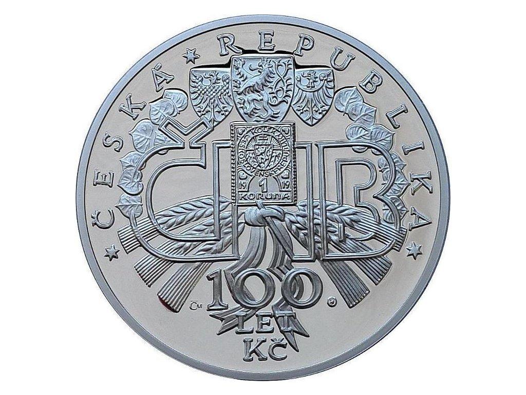 Stříbrná medaile 100 000 000 kč (s motivem zlaté mince) - výročí 100 let Česko-slovenské koruny