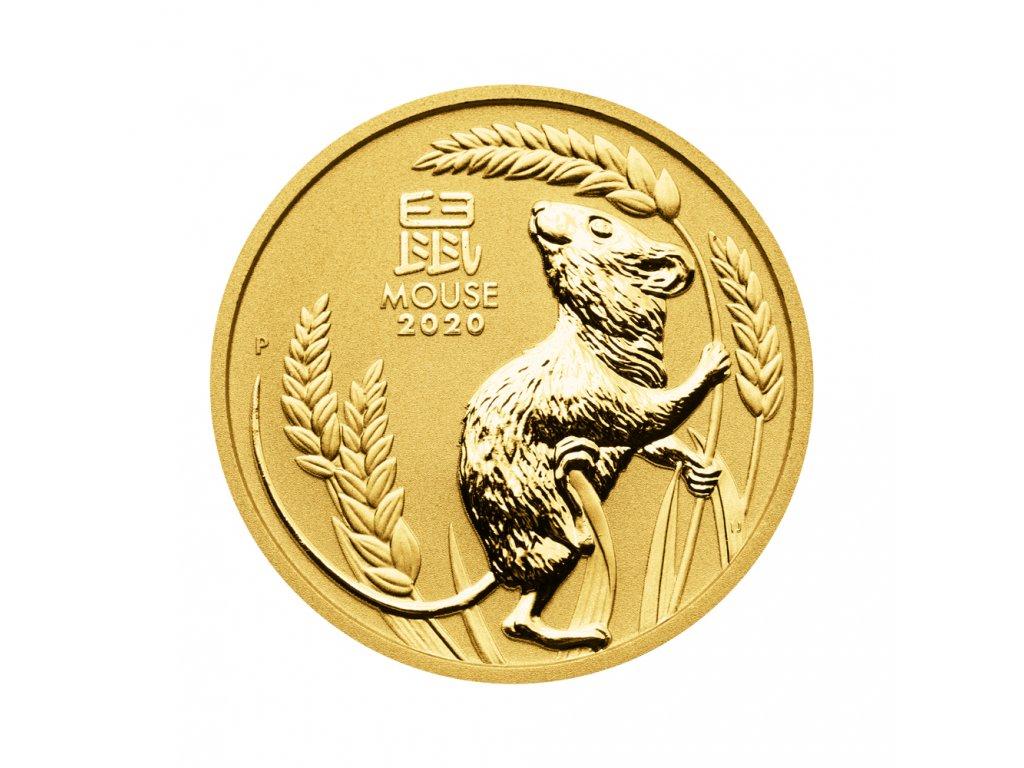 Zlatá investiční mince Rok Myši Lunar III 1 Oz 2020