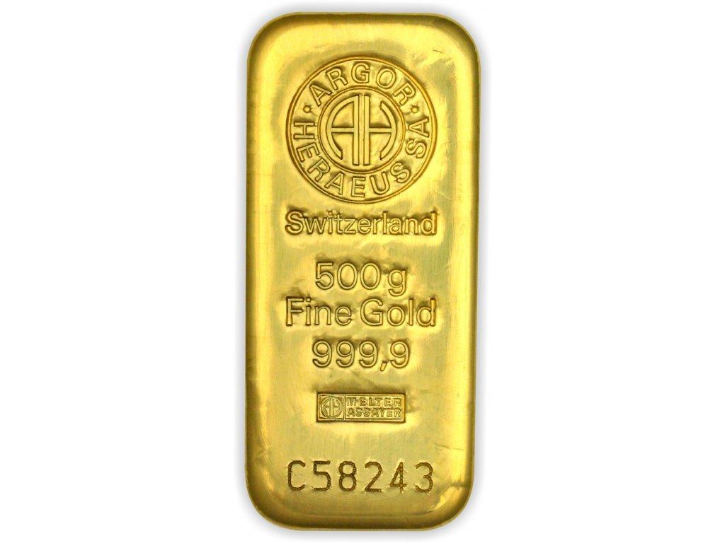 500g investiční zlatý slitek Argor Heraeus SA