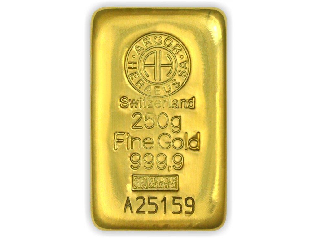 250g investiční zlatý slitek Argor Heraeus SA
