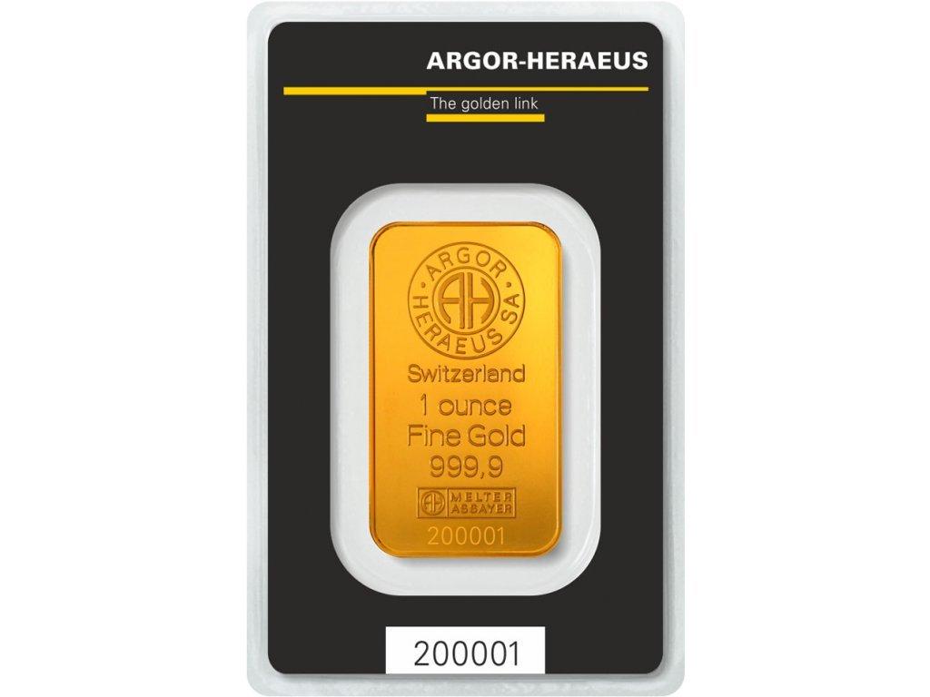 31,1g investiční zlatý slitek Argor Heraeus SA
