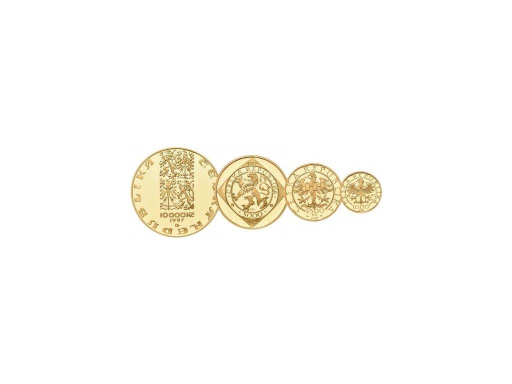Sada 4 zlatých mincí Koruna Česká 1997 Proof