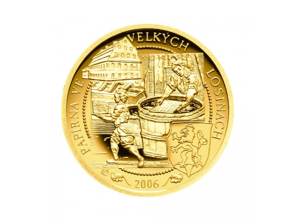 Zlatá mince 2500 Kč Papírna Velké Losiny 2006 Proof