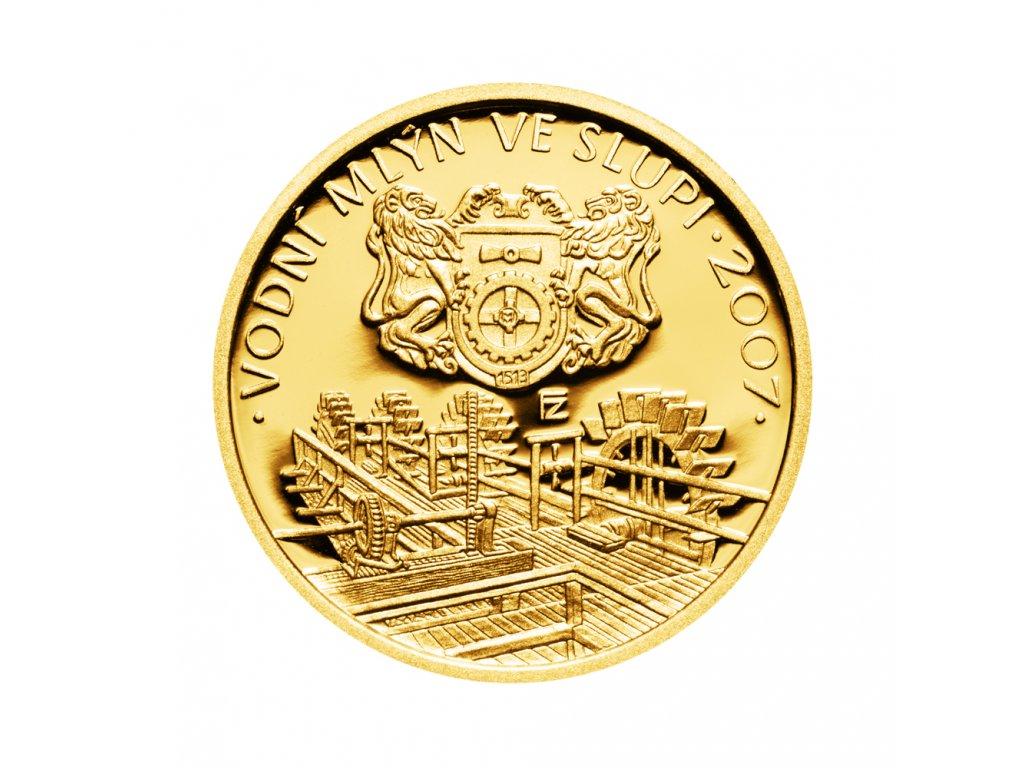 Zlatá mince 2500 Kč Vodní mlýn ve Slupi 2007 Proof