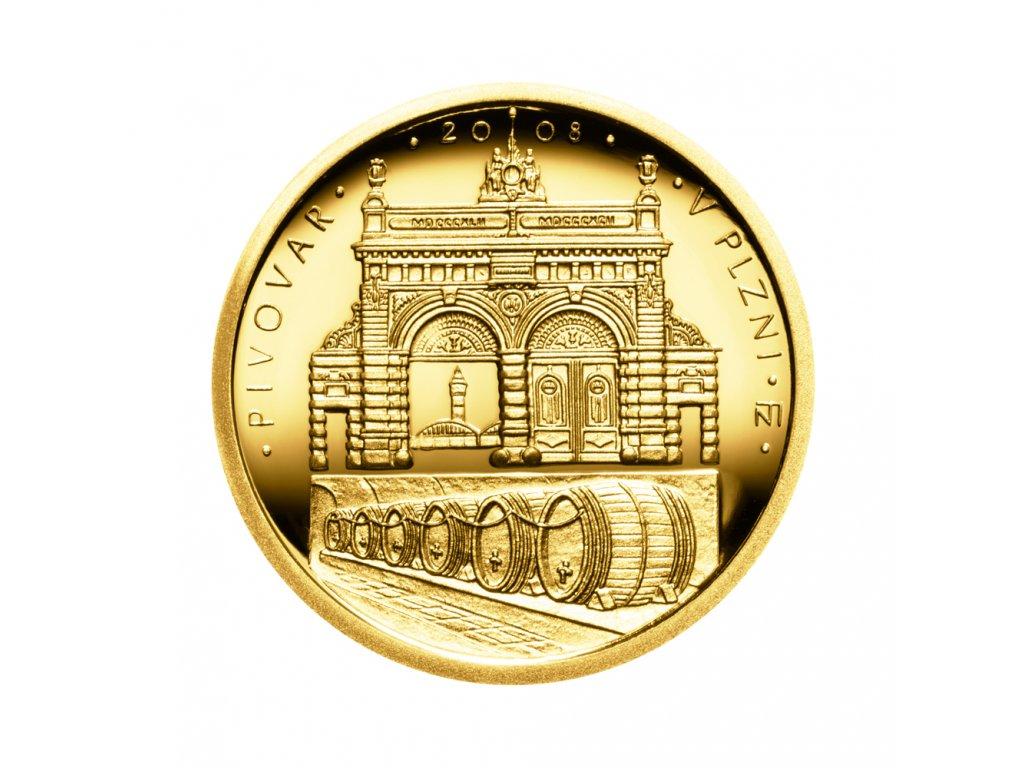 Zlatá mince 2500 Kč Pivovar v Plzni 2008 Proof