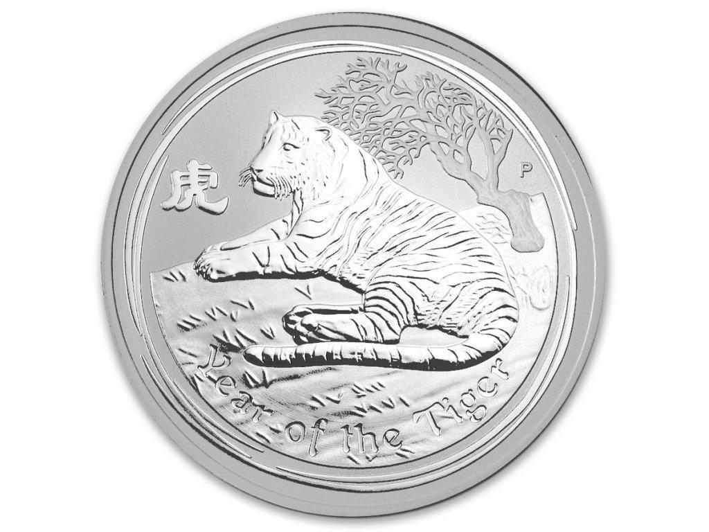 2010 1oz australia lunar silver year of the tiger bu series ii obverse