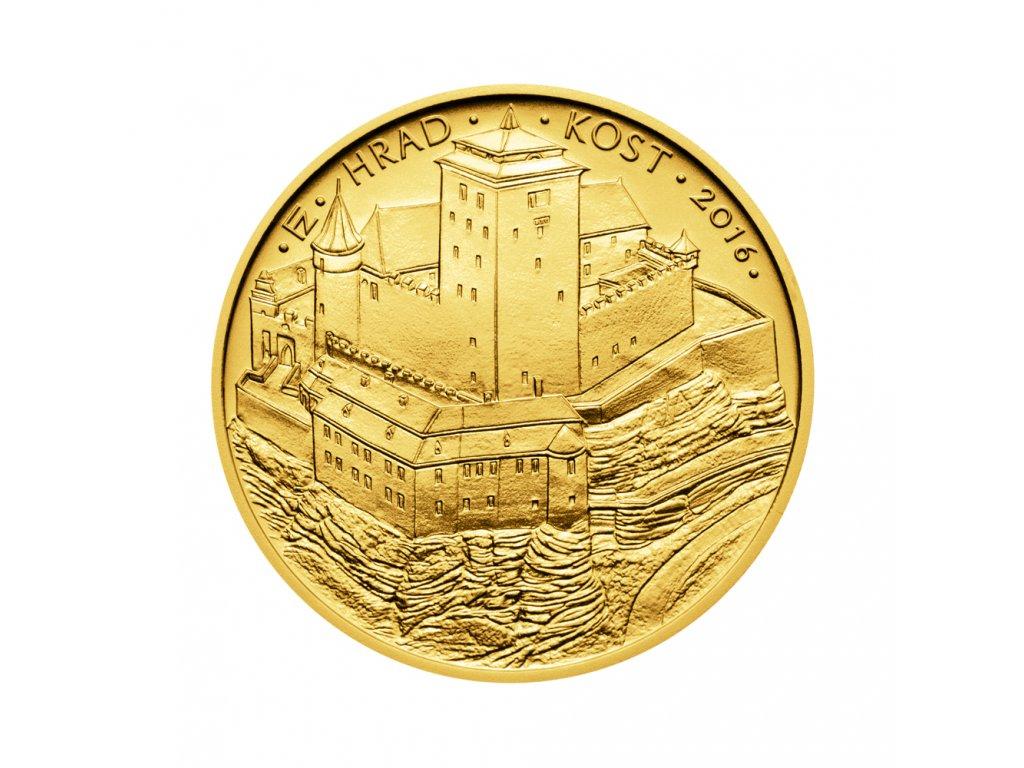 Zlatá mince 5000 Kč Hrad Kost 2016 Standard