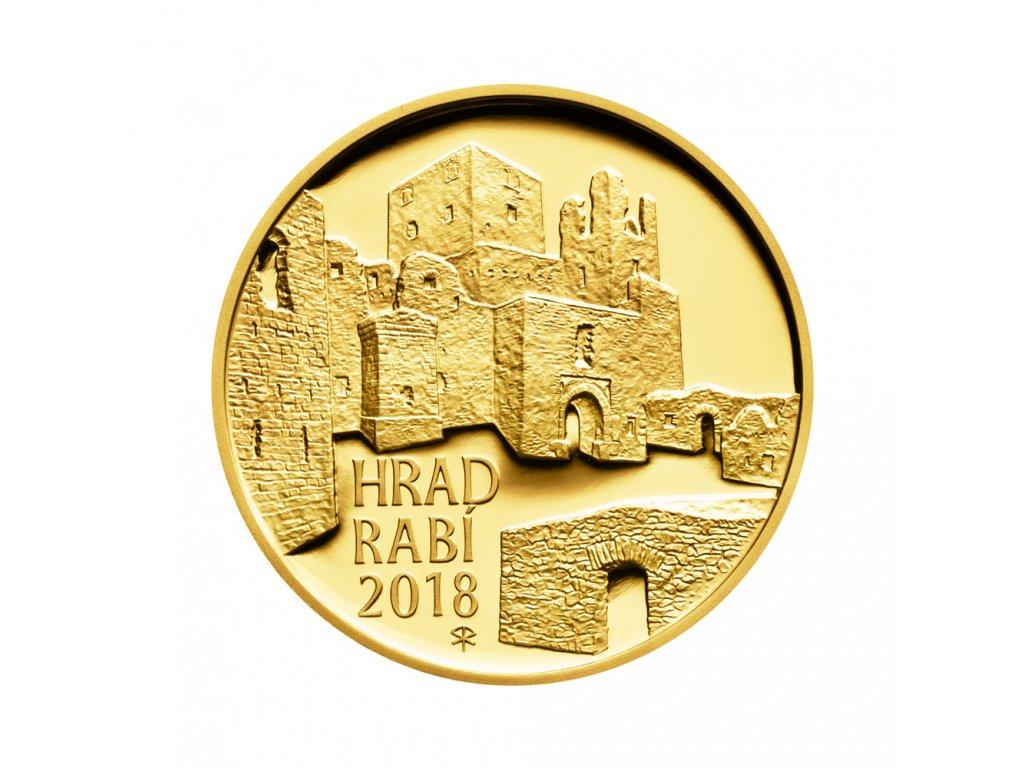 Zlatá mince 5000 Kč Hrad Rabí 2018 Proof