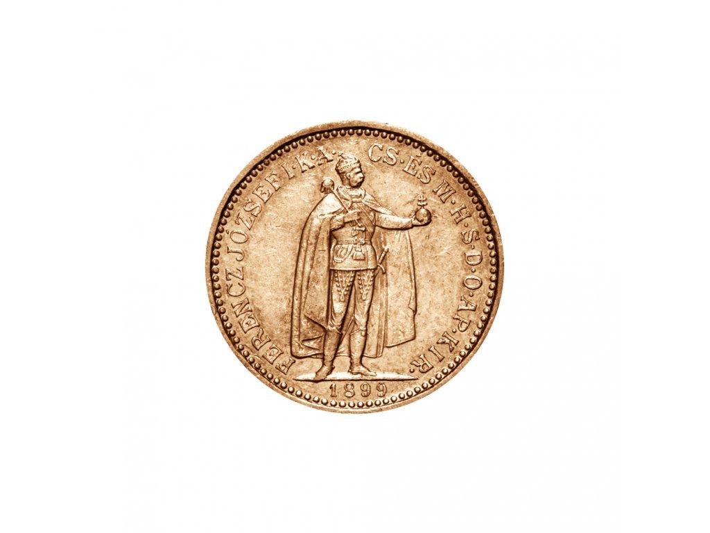 Zlatá mince Desetikoruna Františka Josefa I. Uherská ražba 1895