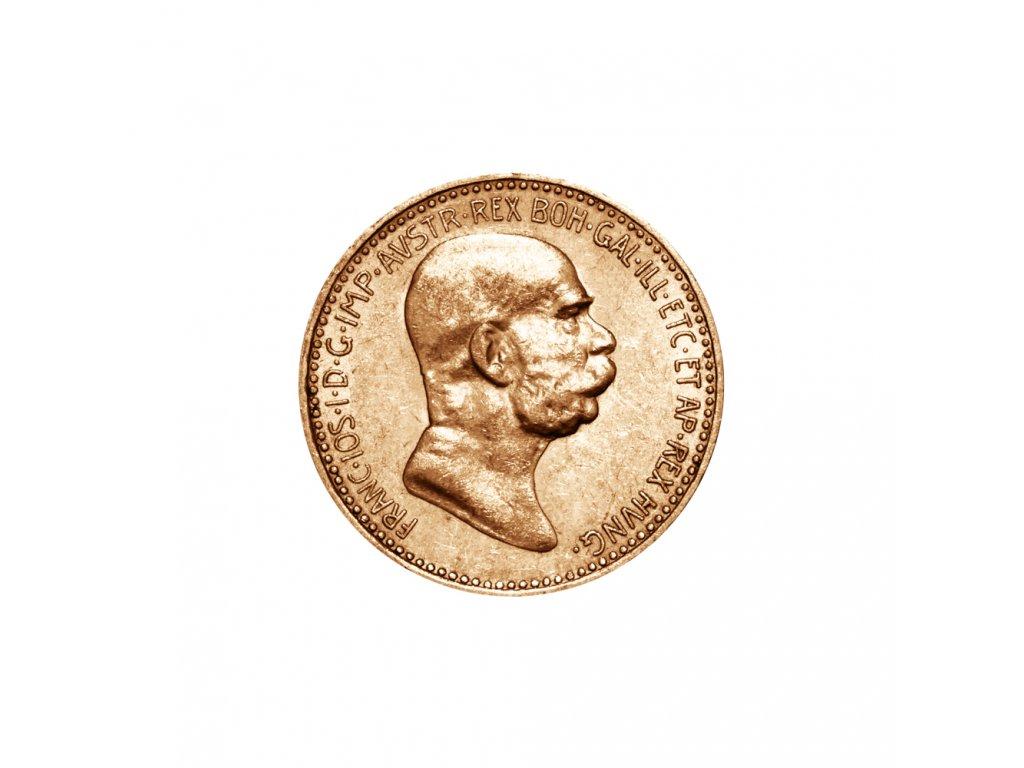 Zlatá mince Desetikoruna Františka Josefa I. Rakouská ražba 1896
