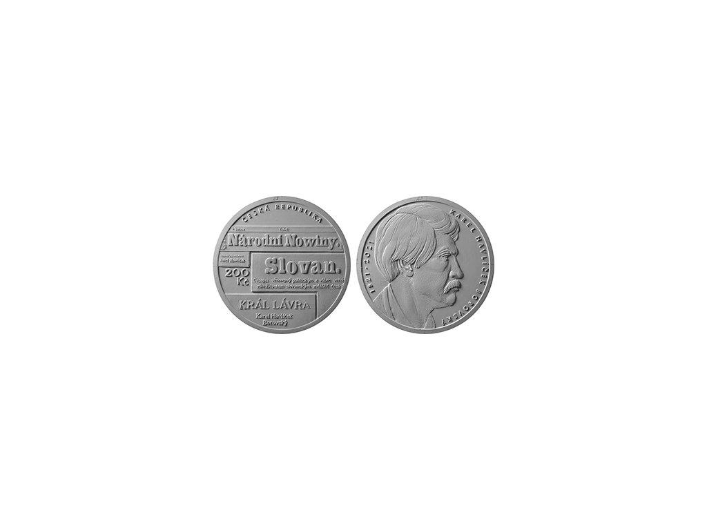 Stříbrná mince 200 Kč Karel Havlíček Borovský 1oz 2021 Standard