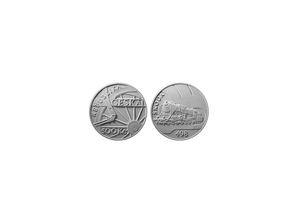 Stříbrná mince 500 Kč Parní lokomotiva Škoda 498 Albatros 1oz 2021 Proof