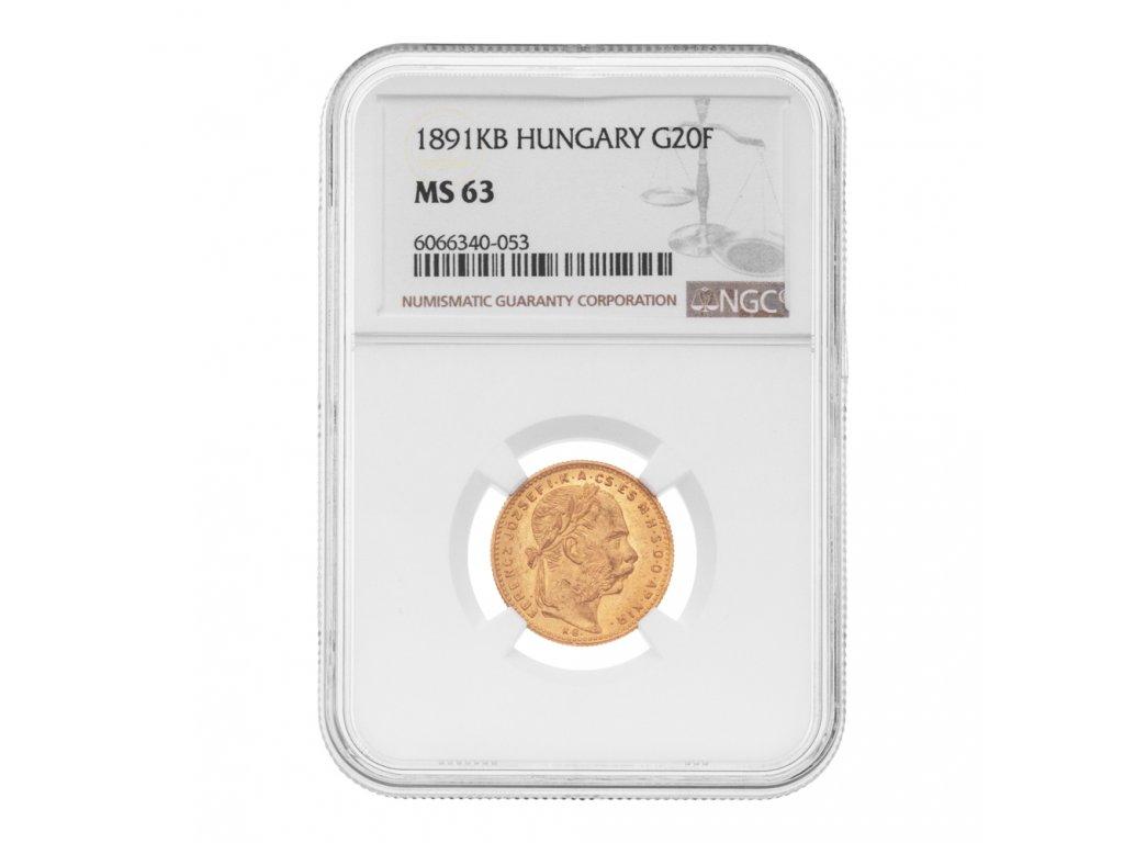 Zlatá mince 8 gulden 20 Fr Františka Josefa I. Uherská ražba 1891 KB NgC