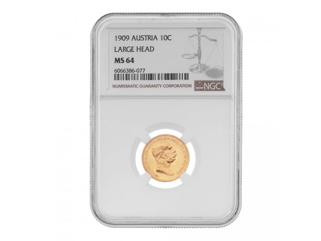 Zlatá mince Desetikoruna Františka Josefa I. Rakouská ražba 1909 NgC