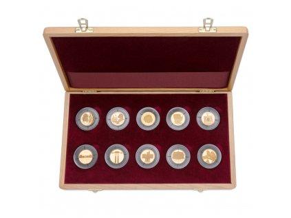 Sada 10 zlatých mincí Deset století architektury 2001 - 2005 Proof