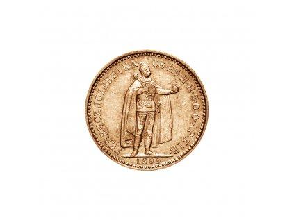 Zlatá mince Desetikoruna Františka Josefa I. Uherská ražba 1898