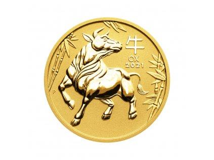 Zlatá investiční mince Rok Buvola Lunar III 1/4 Oz 2021
