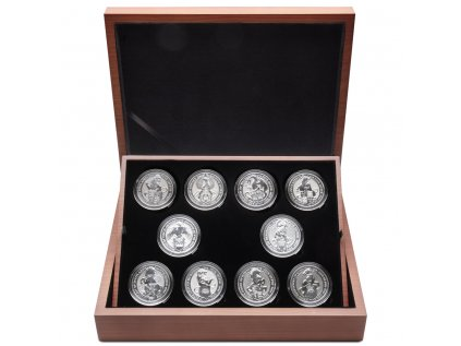 Sada 10 stříbrných mincí série  The Queen´s Beasts