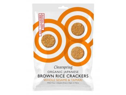 Japonské krekry z hnědé rýže s bílým sezamem, bio - Clearspring, 40g