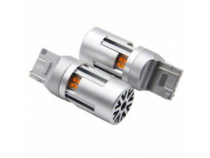 Vysoce svítivé LED autožárovky blinkrů T20 s chladičem 1 ks