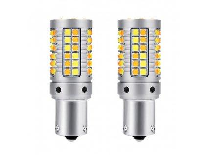 LED DRL BAU15s P21W duální režim studená bílá + oranžová 2 ks