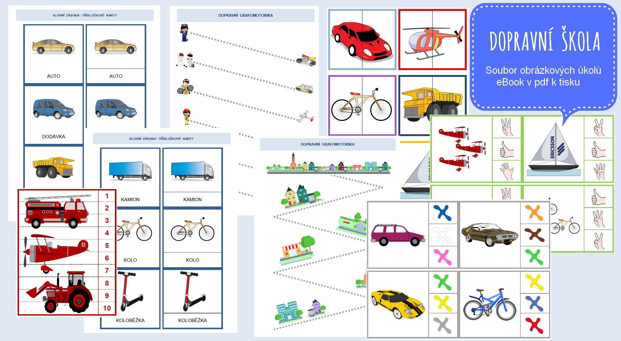 Dopravní škola, soubor úkolů pro malé děti v eBooku