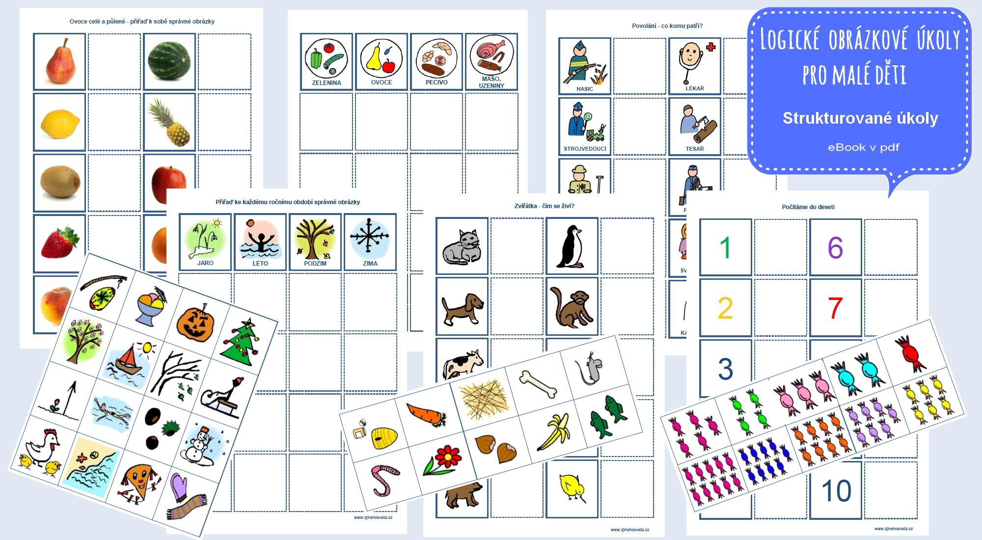 Logické obrázkové úkoly pro malé děti, strukturované úkoly pro děti s autismem, pdf