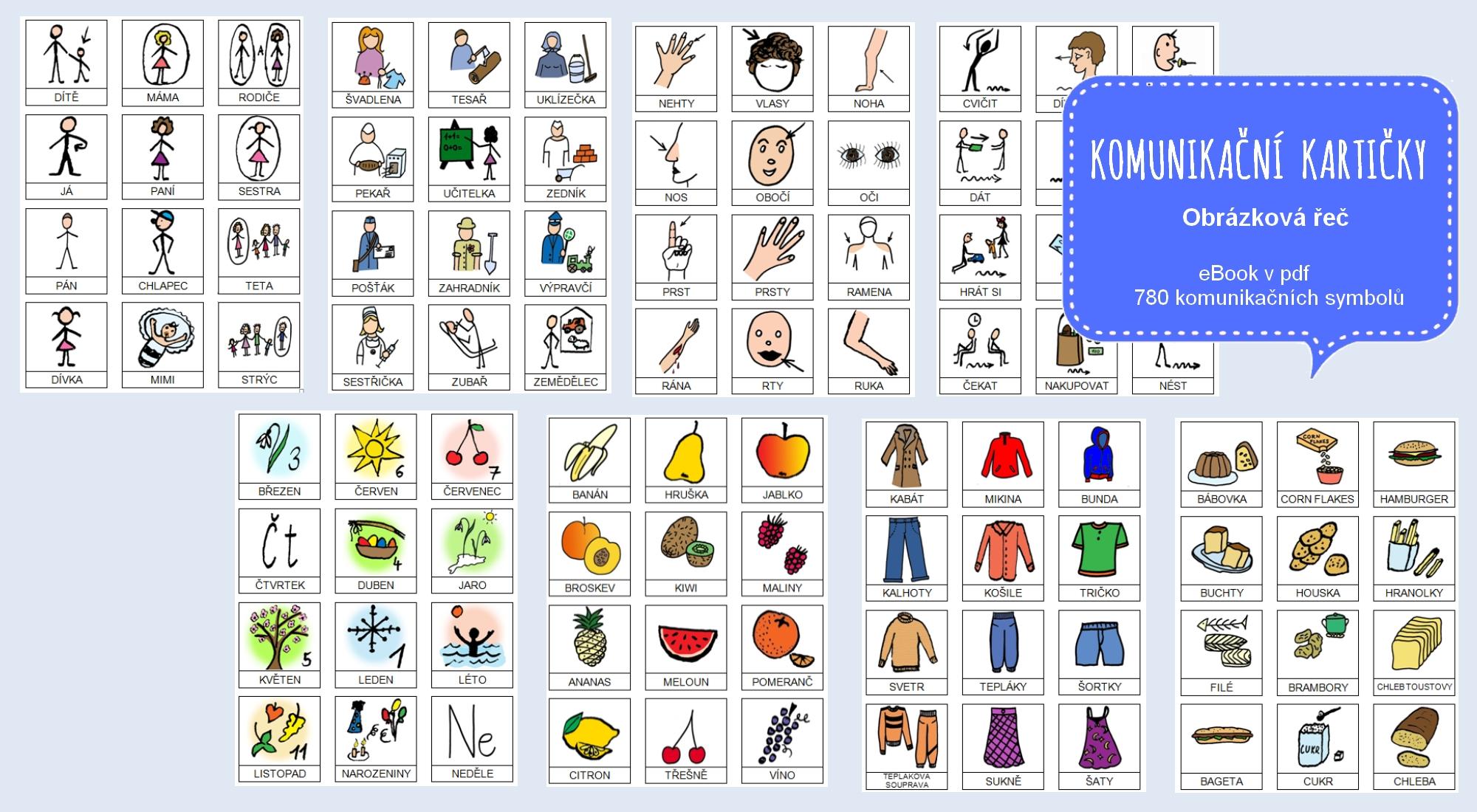 Komunikační kartičky Obrázková řeč,  eBook pro náhradní komunikaci