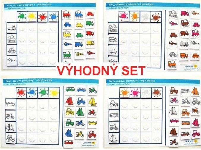Jiný svět Barvy - dopravní prostředky VÝHODNÝ SET 1-4. Logická tabulka na třídění (96 kartiček)