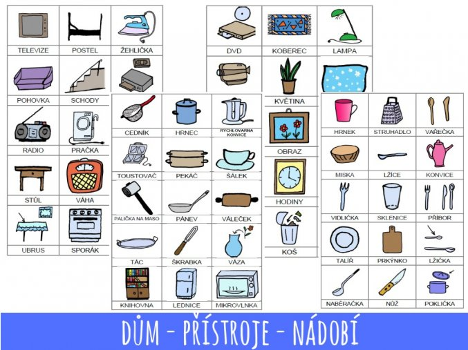 9. dům, přístroje, nádobí