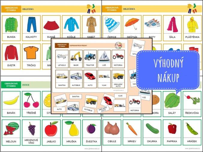 sada 3 oblečení, ovoce, zelenina, doprava