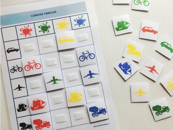 Logicka tabulka dopravni prostredky barvy 4