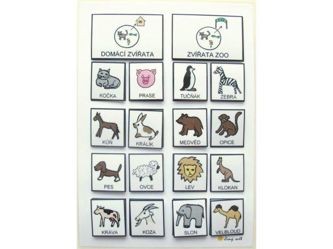 Jiný svět Třídíme: Zvířata domácí / v ZOO. Strukturované učení