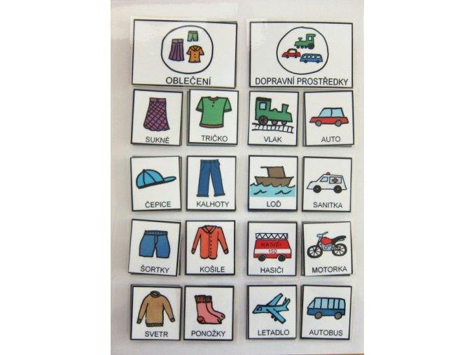 Jiný svět Třídíme - oblečení/dopravní prostředky. Strukturované učení