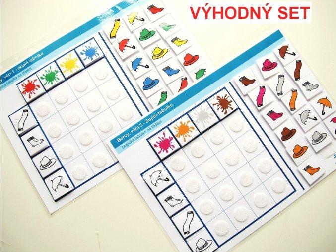 Jiný svět Sada Barvy - věci. 2 logické tabulky na třídění (48 kartiček)
