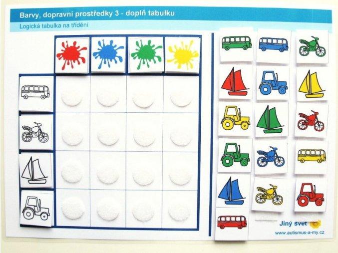 Jiný svět Barvy - dopravní prostředky 3. Logická tabulka na třídění (24 kartiček)