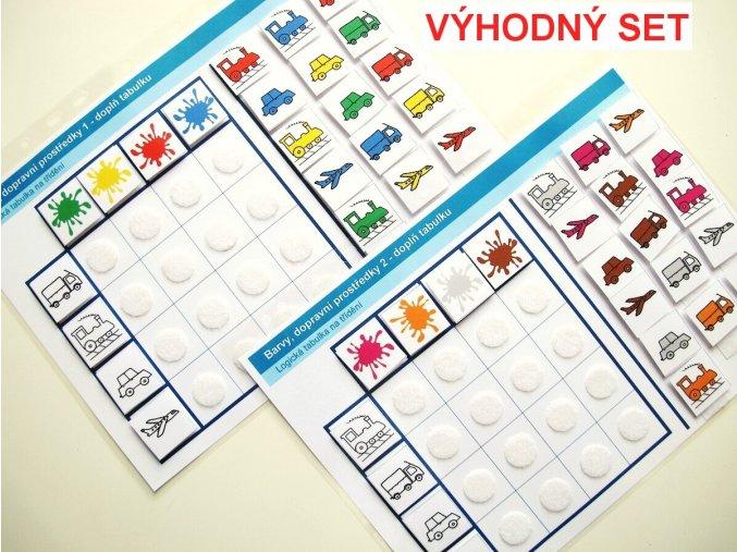 Jiný svět Sada Barvy - Dopravní prostředky (1 + 2), 2 logické tabulky na třídění (48 kartiček)