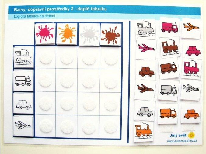 Jiný svět Barvy - dopravní prostředky 2. Logická tabulka na třídění (24 kartiček)