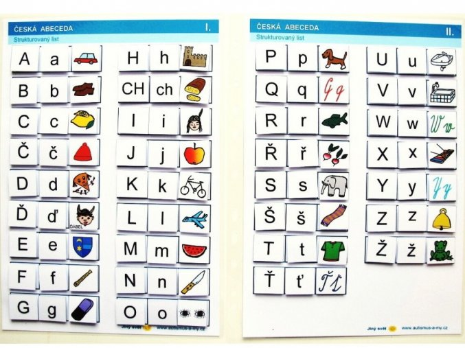 Jiný svět Česká abeceda. Strukturované listy