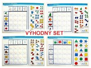 Jiný svět Počítání do 4 + Geometrické tvary. VÝHODNÝ SET, logická tabulka na třídění (96 kartiček)