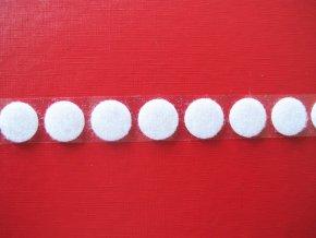 Samolepicí suchý zip -  smyčky, kolečka 19 mm bílý
