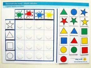 Jiný svět Geometrické tvary. Logická tabulka na třídění (24 kartiček)