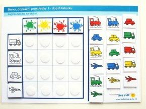 Jiný svět Barvy - dopravní prostředky 1. Logická tabulka na třídění (24 kartiček)