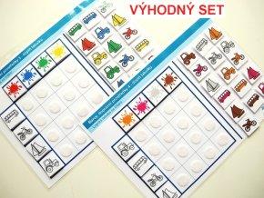 Jiný svět Sada Barvy - Dopravní prostředky (3 +4), 2 logické tabulky na třídění (48 kartiček)