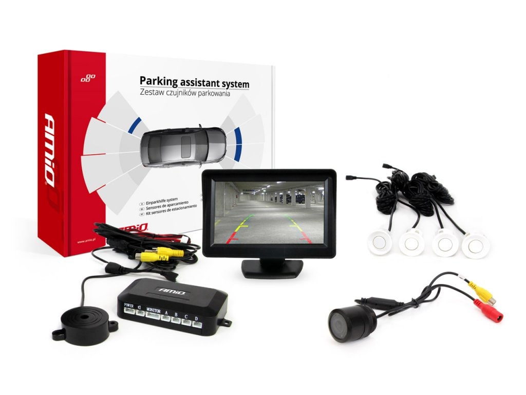 """Asistenty parkovania LCD 4,3"""" s kamerou HD-301-IR , 4-senzorové, biele"""