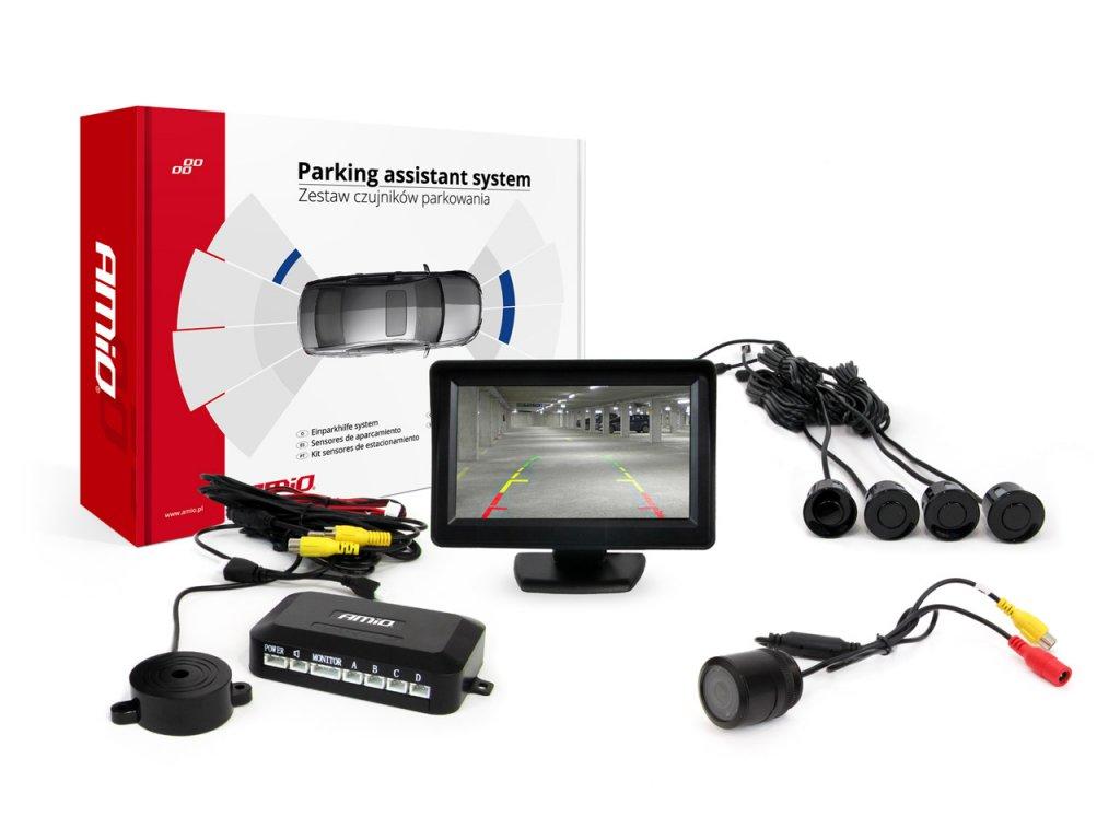 """Asistenty parkovania LCD 4,3"""" s kamerou HD-301 IR , 4-senzorové, čierne"""