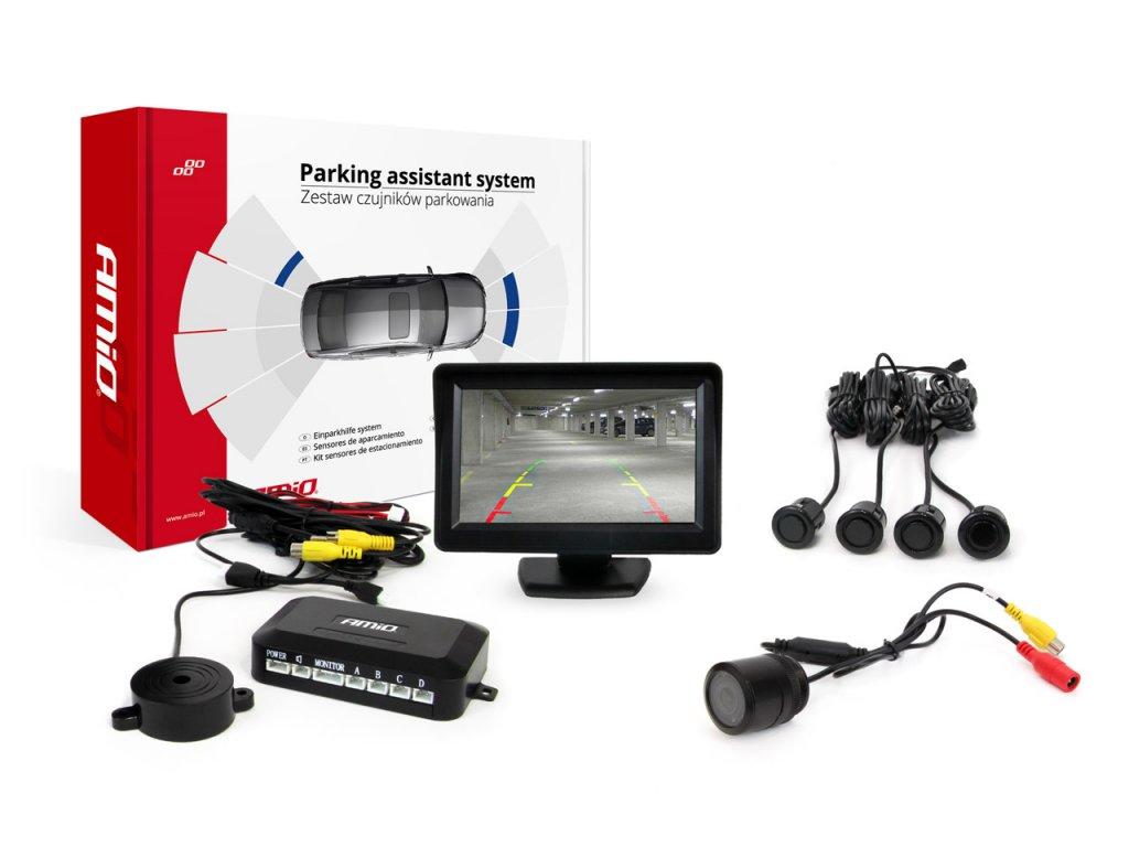 """Asistenty parkovania LCD 4,3"""" s kamerou HD-301-IR, 4-senzorové, čierne """"GOLD"""""""